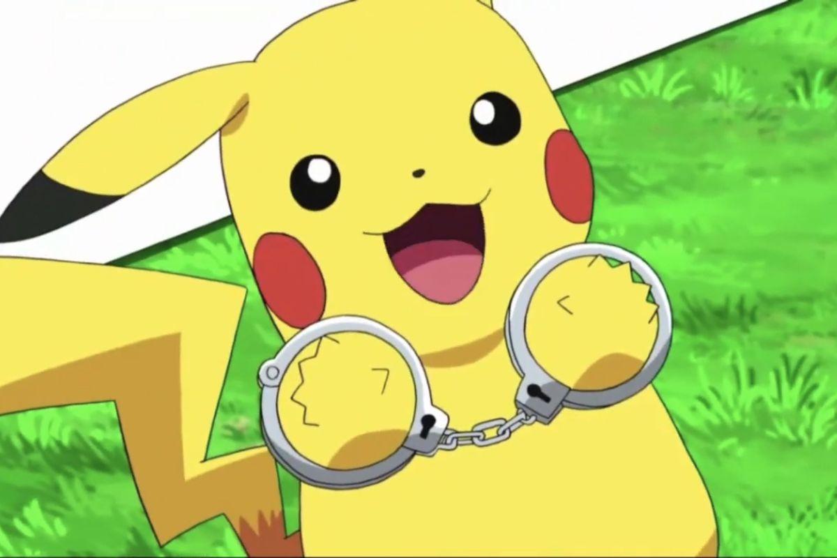 Pikachu wearing handcuffs from the Pokémon Sword & Shield anime