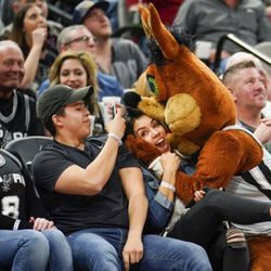 San Antonio Spurs mascot, The Coyote, interacts with fans during the second half of an NBA basketball game against the Utah Jazz, Saturday, Feb. 3, 2018, in San Antonio. Utah won 120-111. (AP Photo/Darren Abate)