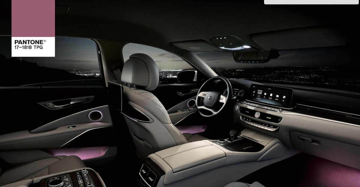 Car interior with violet lights