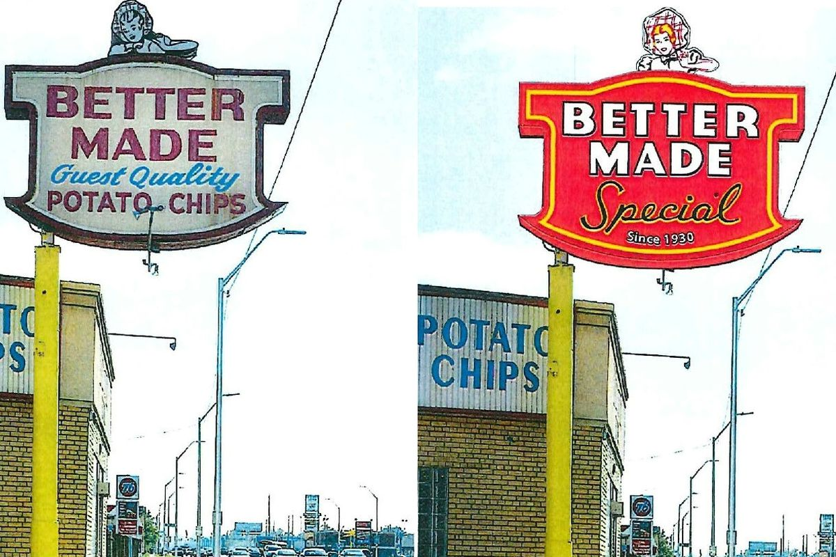 """the original on the left has white background and says """"great quality potato chips""""; the one on the right is a red background with """"special since 1930"""""""