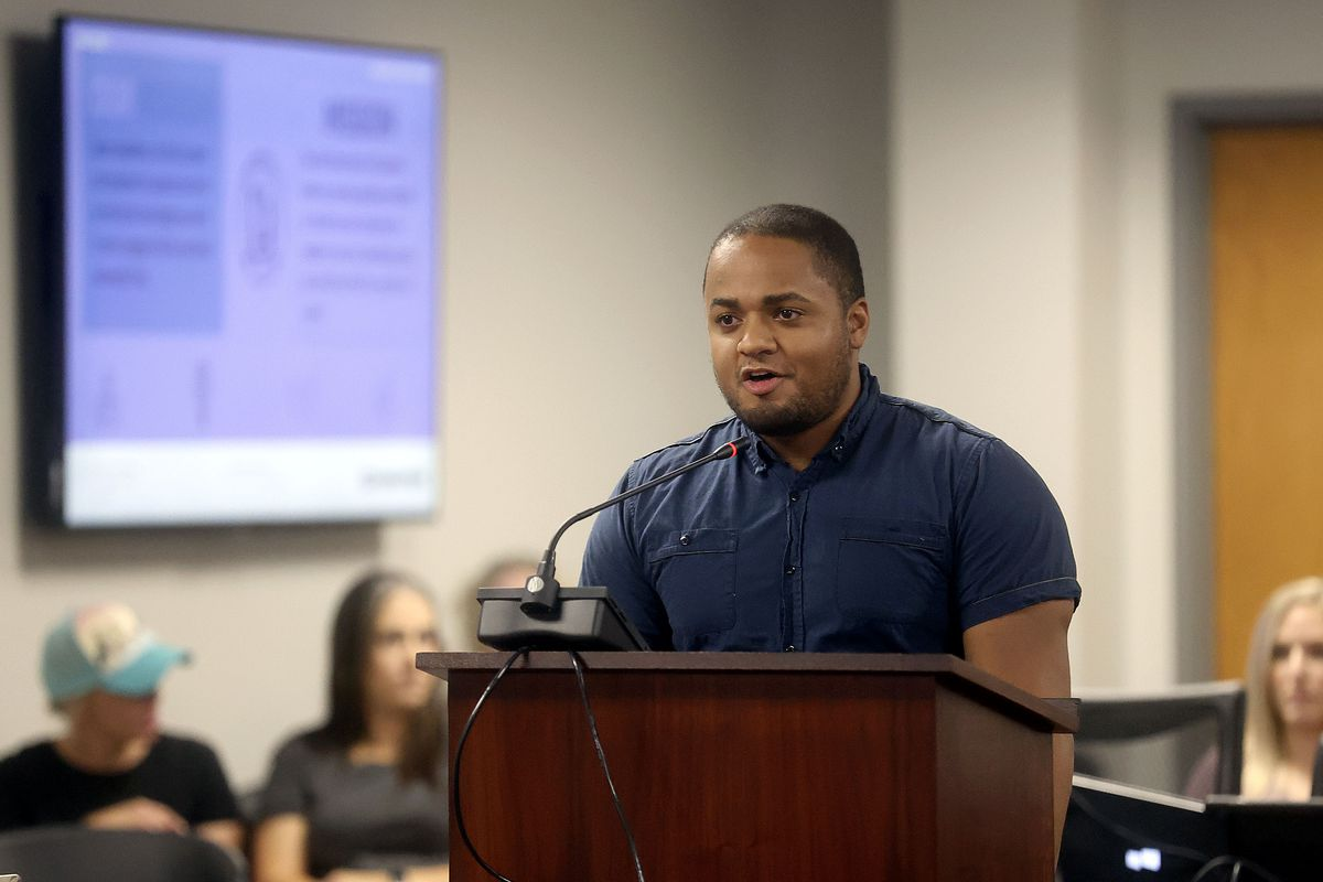 James Sullivan speaks in opposition to critical race theory education during a Utah State Board of Education meeting in Salt Lake City.