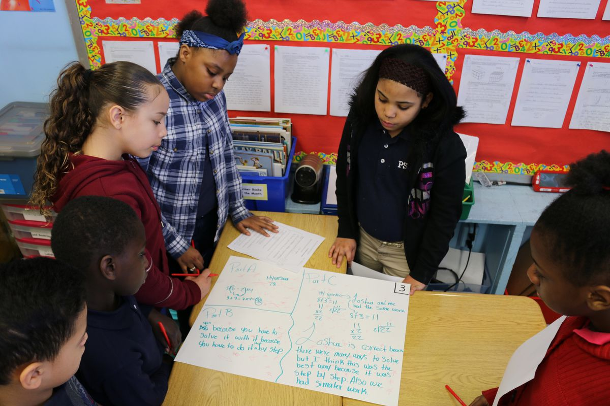 Fifth-grade students at P.S. 294 in the Bronx were immersed in math problems when Chalkbeat reporter Christina Veiga visited in March.