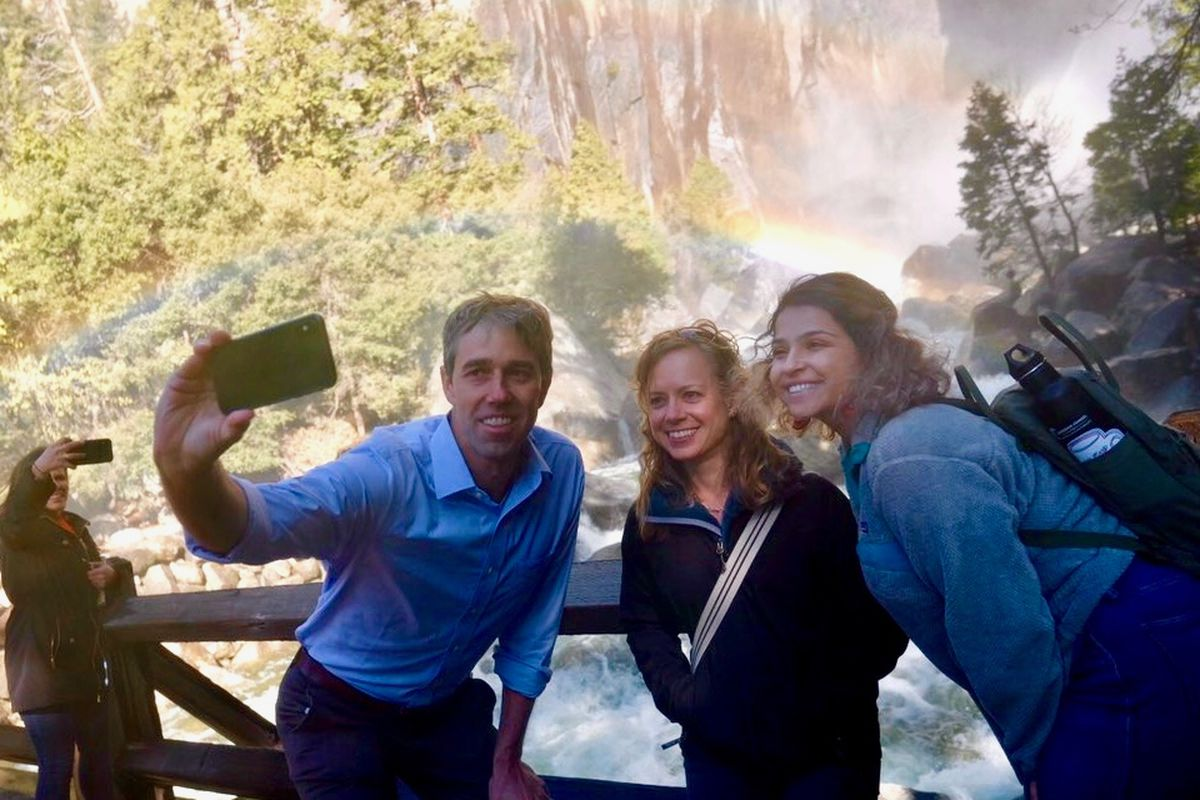 2020 presidential contender Beto O'Rourke toured Yosemite National Park on Monday, where he announced his $5 trillion plan to fight climate change.
