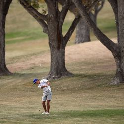 Fremont's Chase Burton hits out of the fairway as he competes in the 6A boys state tournament at Davis Park Golf Course in Kaysville on Tuesday, Oct. 5, 2021.