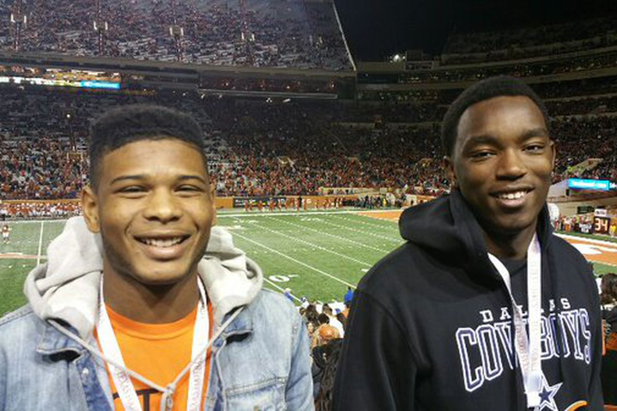 2016 wide receiver commit Davion Curtis (left) and 2017 defensive end Taquon Graham at the Texas-Kansas game on November 7, 2015.