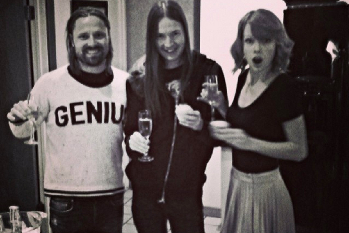 Max Martin (left) during the production of Taylor Swift's (right) album 1989, for which he co-wrote most of the singles.