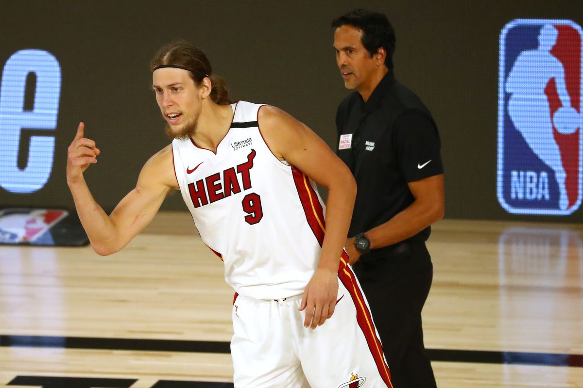 Miami Heat forward Kelly Olynyk (9) and head coach Erik Spoelstra react during the second half of game two of the second round of the 2020 Stanley Cup Playoffs against the Milwaukee Bucks at The Field House.