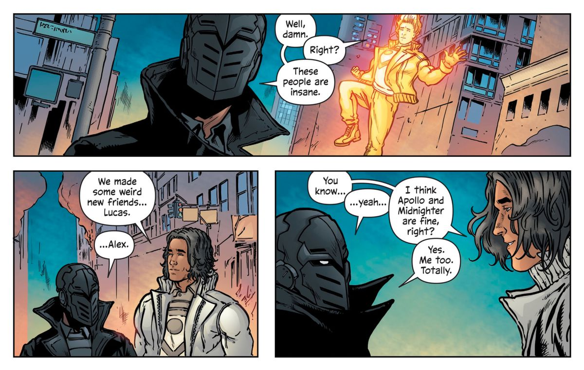 Apollo and Midnighter in The Wild Storm #24, DC Comics.