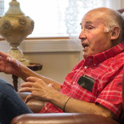 Rex Garfield, of Mona, discusses how he and his wife, Linda, were defrauded of their retirement savings by investment adviser Tom Andrews on Tuesday, Sept. 13, 2016.