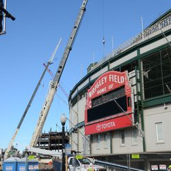 11:54 a.m. View of the scene in front of the ballpark -