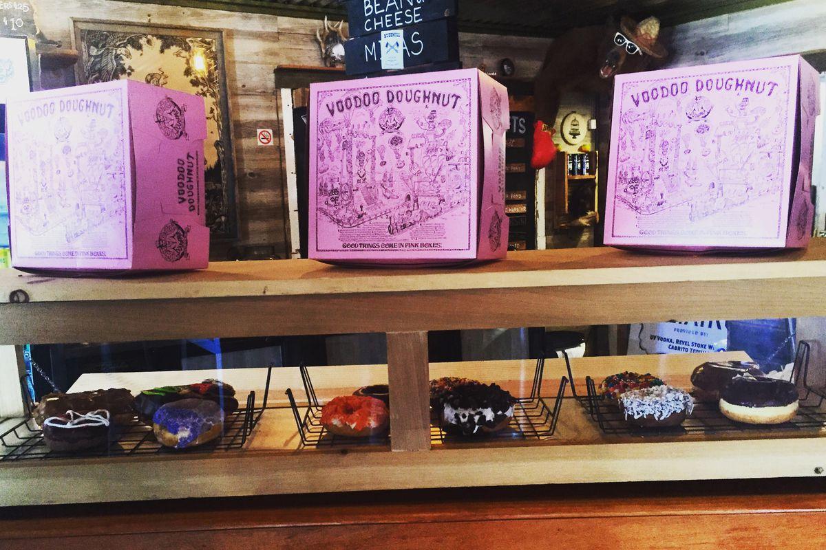 Buzz Mill Coffee's Voodoo Doughnut display