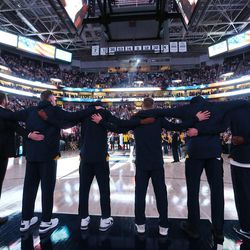Utah Jazz stand for the National Anthem in the new Vivint Arena in Salt Lake City on Wednesday, Oct. 18, 2017.