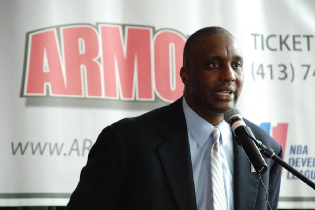 Dee Brown talks to the media in his new role with the Springfield Armor.