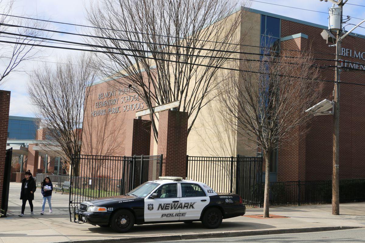 Police car outside Newark Public Schools building
