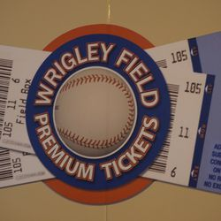 Wednesday evening: The logo on the Wrigley Field Premium Ticket booth, on Addison