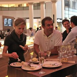 """Chef/owner Pascal Rigo shares """"le dome,"""" a chocolate covered hazelnut treat, with guests Thursday night."""