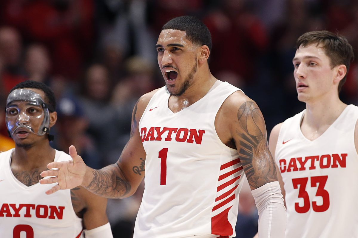 Obi Toppin of the Dayton Flyers celebrates after a play in the game against the Duquesne Dukes at UD Arena on February 22, 2020 in Dayton, Ohio.