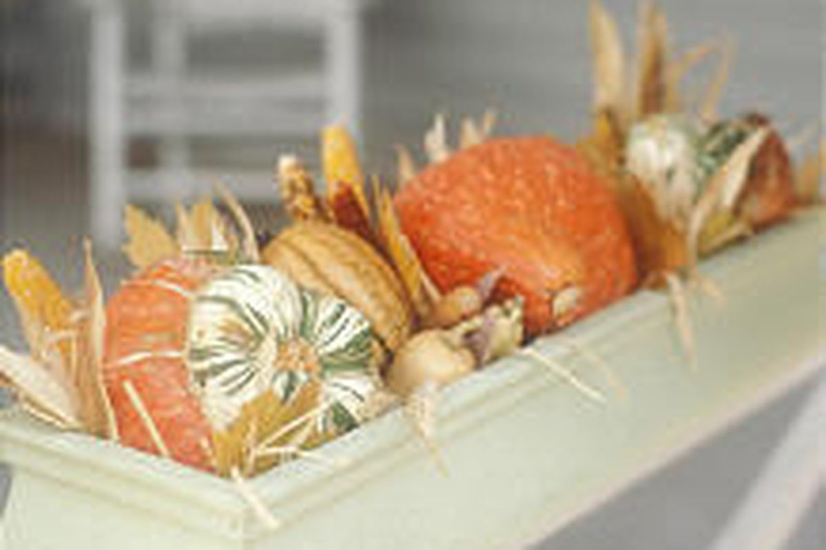 This time of year is great for filling window boxes with winter squash, gourds, tiny pumpkins and Indian corn. Tuck pretty fallen leaves and twigs among them.