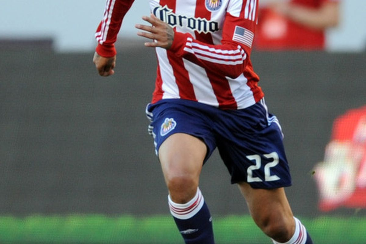 Apr 1, 2012; Carson, CA, USA; Smith was the clear man of the match for Chivas. Mandatory Credit: Kelvin Kuo-US PRESSWIRE