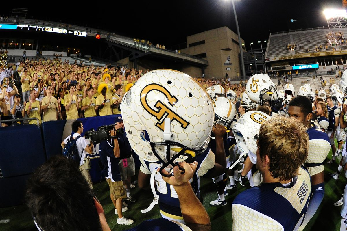 ATLANTA, GA - SEPTEMBER 8: Members of the Georgia Tech Yellow Jackets celebrate after the game against the Presbyterian Blue Hose at Bobby Dodd Stadium on September 8, 2012 in Atlanta, Georgia. (Photo by Scott Cunningham/Getty Images)