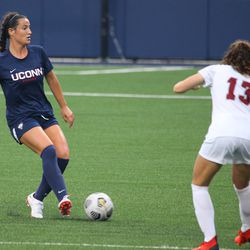 UConn's Lucy Cappadona #4 during the UMass Minutewomen vs the UConn Huskies at Morrone Stadium at Rizza Performance Center in an exhibition women's college soccer game in Storrs, CT, Monday, August 9, 2021.