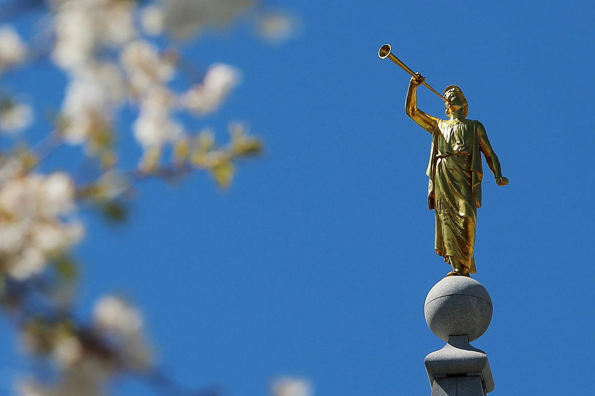 The Angel Moroni atop the Salt Lake LDS Temple during the Saturday afternoon session of the 186th annual general conference of The Church of Jesus Christ of Latter-day Saints in Salt Lake City Saturday, April 2, 2016.