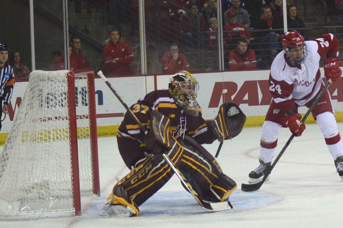 Jedd Soleway (24) with an attempt last week against Minnesota goaltender Eric Schierhorn.