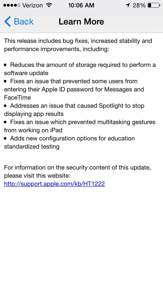 iOS 8.1.3 update notes