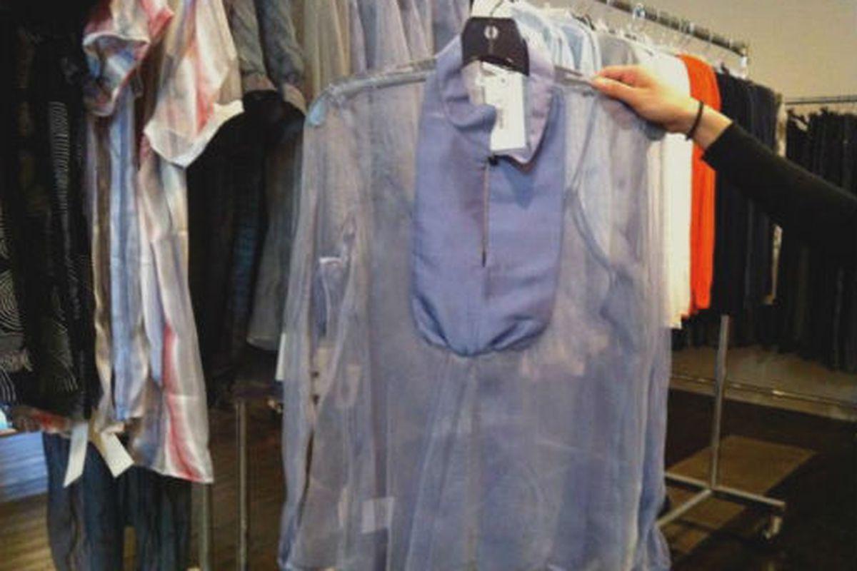 "An Armani Collezioni blouse via <a href=""http://samplesally.com/apparel/giorgio-armani-womens-sample-sale/#more-25979"">Sample Sally</a>"