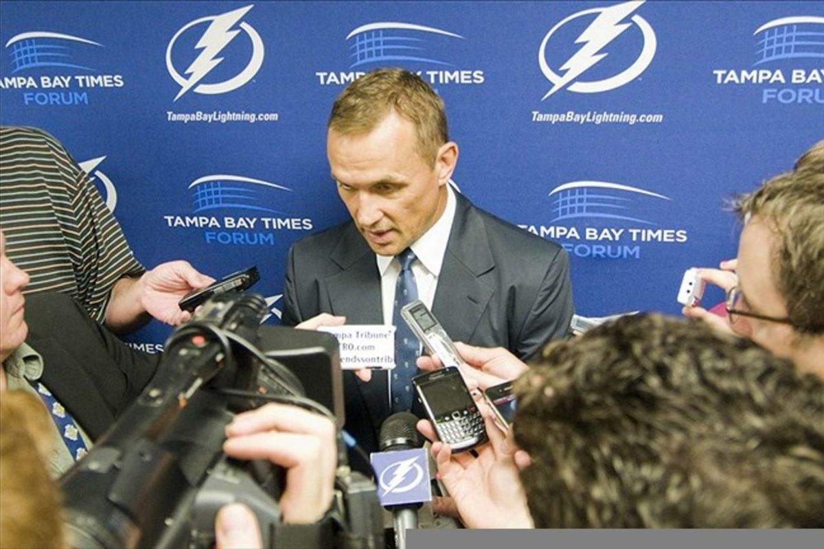February 21, 2012; Tampa, FL, USA; Tampa Bay Lightning general manager Steve Yzerman talks about roster moves before a game against the Anaheim Ducks at the Tampa Bay Times Forum.  Mandatory Credit: Jeff Griffith-US PRESSWIRE