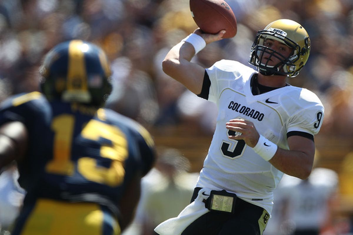 BERKELEY CA - SEPTEMBER 11:  Jimmy Smith #3 of the Colorado Buffaloes passes against of the California Golden Bears at California Memorial Stadium on September 11 2010 in Berkeley California.  (Photo by Jed Jacobsohn/Getty Images)