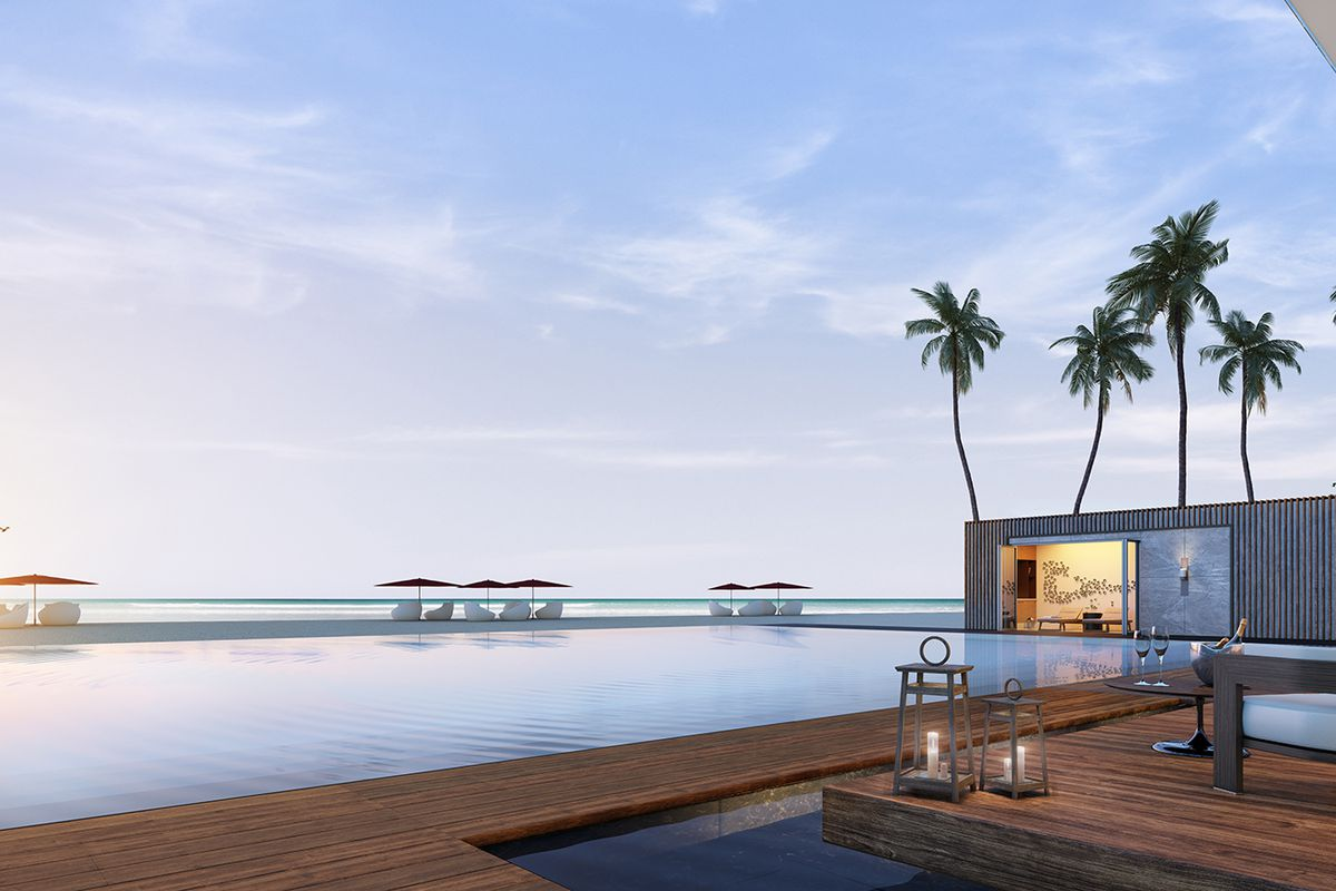 Rendering of the pool area at Muse in Sunny Isles Beach