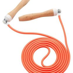 """<b>A jump rope</b>. Might want to take this one outside (space concerns, downstairs neighbors, etc.)—use your best judgment. Sweaty Betty skipping rope, <a href=""""http://www.sweatybetty.com/us/clothes/accessories/workout/neon-peach-blossom-skipping-rope/"""">"""
