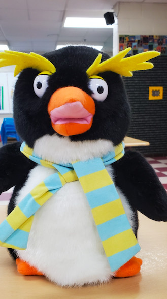 Chilly the penguin teaches students social and emotional skills in Kathie Kunec's virtual kindergarten classroom.