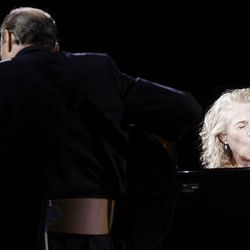 James Taylor and Carole King perform in concert at the EnergySolutions Arena on Thursday.
