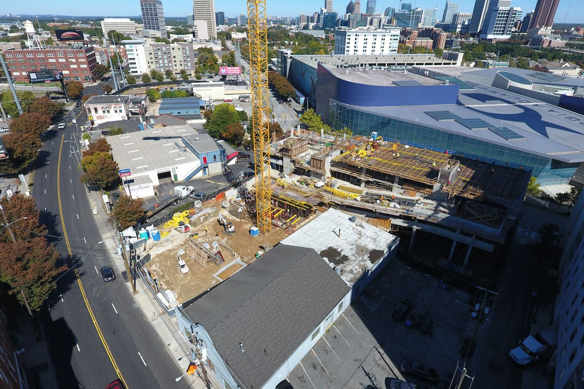 The Luckie Street site last week where a downtown Atlanta hotel is rising up.