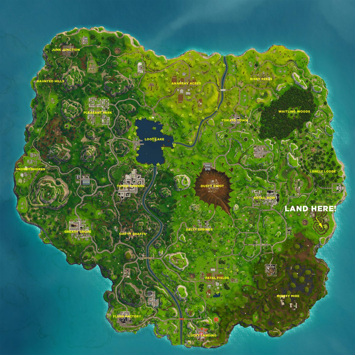 Follow The Treasure Map Found In Salty Springs Fortnite Challenge
