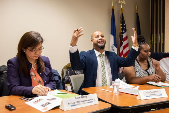 Vijah Ramjattan at meeting on diversity, Dec. 5, 2019.Photo: Ben Fractenberg/THE CITY