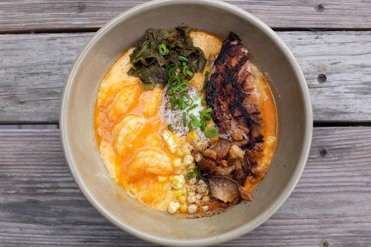 Grilled pork belly, shrimp, and grits from The Hightower