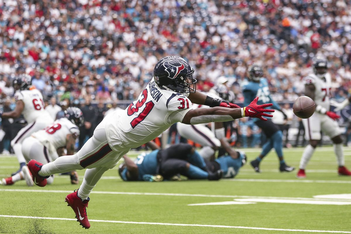 Houston Texans running back David Johnson (31) attempts to make a reception during the first quarter against the Jacksonville Jaguars at NRG Stadium.