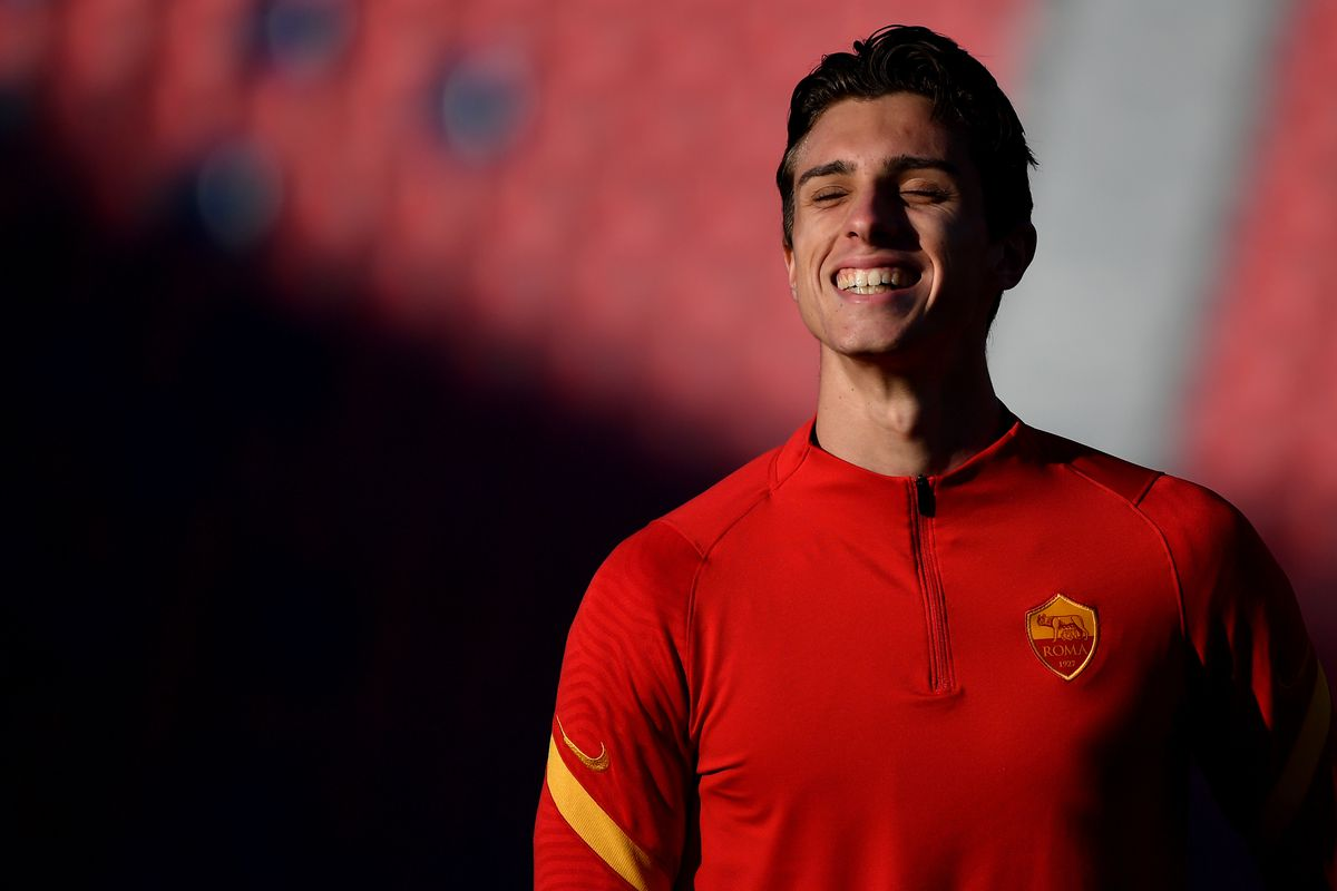 Riccardo Calafiori of AS Roma reacts during the warm up...