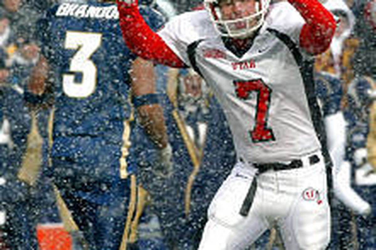 Utah's Bryan Borreson celebrates after kicking the only score as Utah defeats BYU 3-0 and wins the Mountain West Conference championship at Provo back in 2003. Utah has won five of last six meetings in Provo.