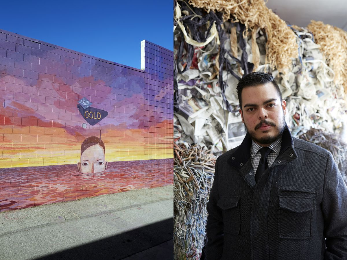 A mural of a sunset above the water, with a woman's head emerging from the water. A portrait of Robert Benitez, a curator.