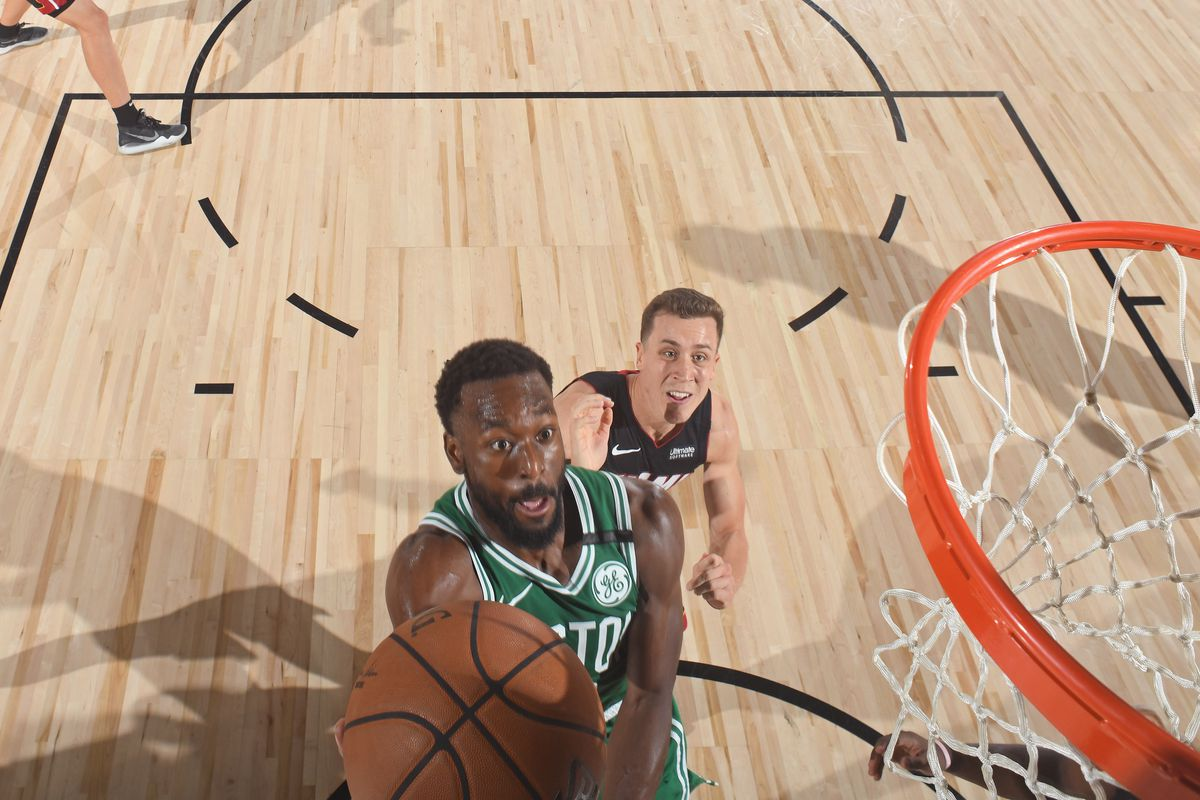 Kemba Walker of the Boston Celtics shoots the ball against the Miami Heat during Game Three of the Eastern Conference Finals of the NBA Playoffs on September 19, 2020 at AdventHealth Arena in Orlando, Florida.