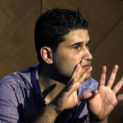 Fahd al-Bakoush, a freelance videographer, 22, discusses a video he shot that shows civilians removing the body of  U.S. Ambassador Chris Stevens from a small dark room in the U.S. consulate in Benghazi in the aftermath of the Tuesday Sept. 11, 2012, attack, during an interview with the Associated Press, in Benghazi, Libya, Monday, Sept. 17, 2012. Stevens and three other Americans were killed in the attack on the consulate as part of a wave of assaults on U.S. diplomatic missions in Muslim countries over a low-budget movie made in the United States that denigrates the Prophet Muhammad.