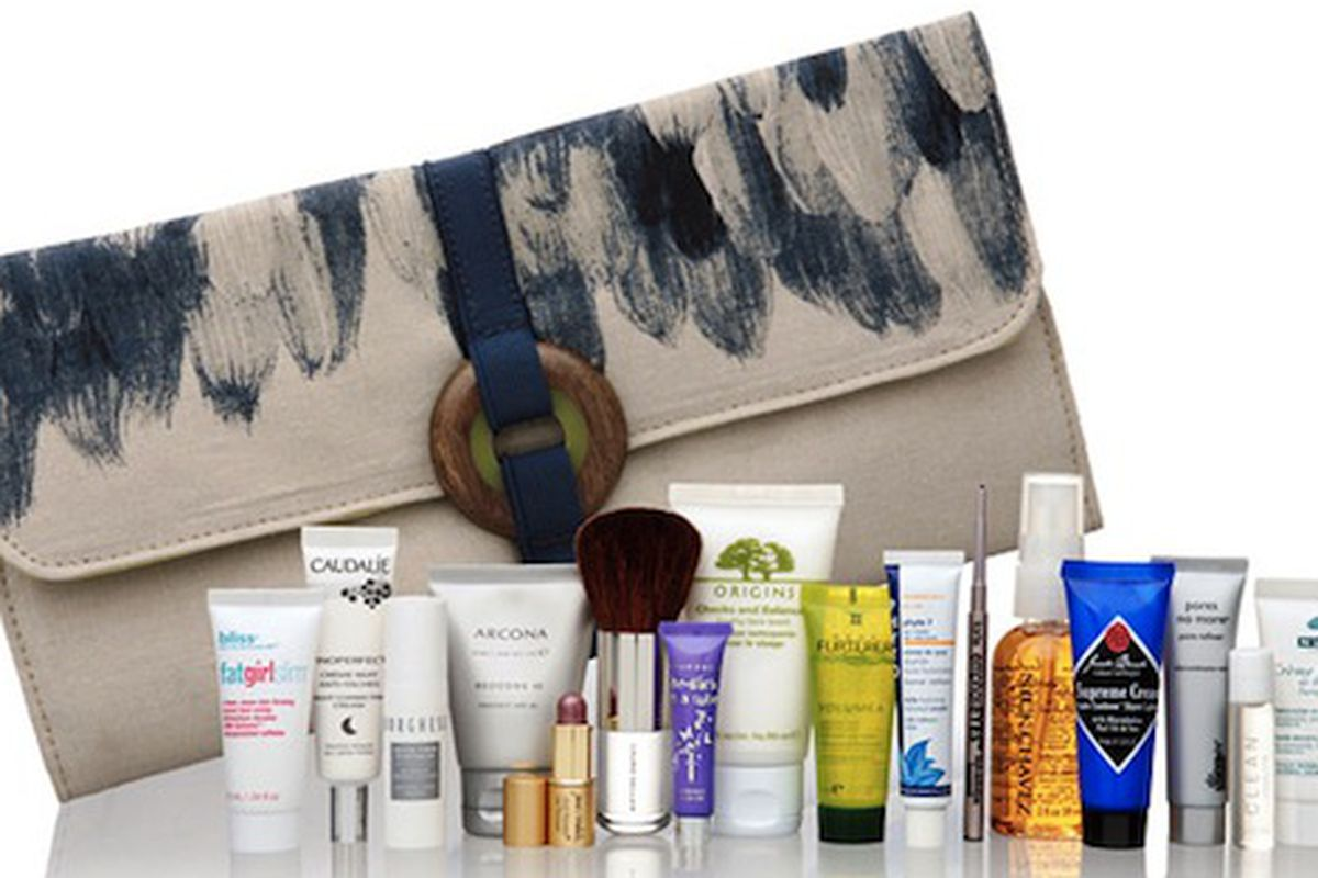 """It may be lovely painted linen, but spending $100 to get $135 worth of tiny samples isn't quite our speed. Image via <a href=""""http://www.stylelist.com/2010/05/06/lela-rose-creates-clutch-for-beauty-com/"""">StyleList</a>."""