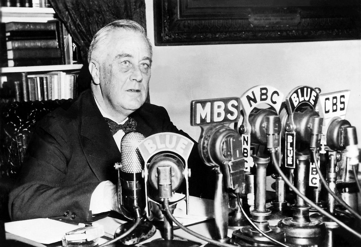 Franklin D. Roosevelt at the White House, delivering a national radio address on January 11, 1944.