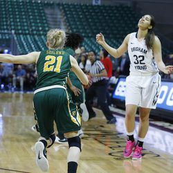Brigham Young Cougars forward Kalani Purcell (32) has the ball stolen at the buzzer during the WCC tournament championship in Las Vegas Tuesday, March 8, 2016. San Francisco won 70-68.