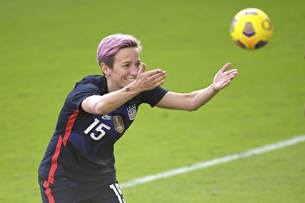 United States forward Megan Rapinoe acknowledges fans after scoring during the second half of a SheBelieves Cup women's soccer match against Brazil.