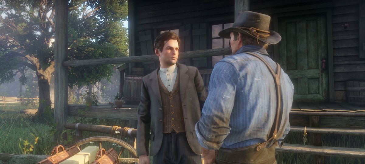 Red Dead Redemption 2 - Arthur threatening a young man
